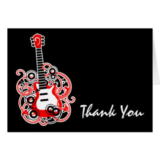 Rock Star Guitar Red and Black Thank You Note Card