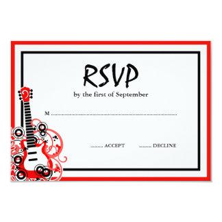 Rock Star Guitar Red Black RSVP Card