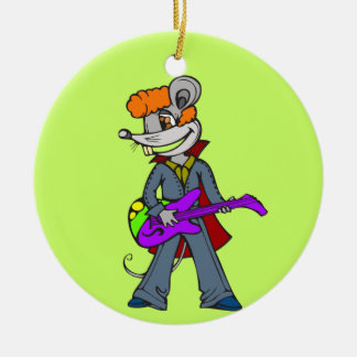 Rock Star Mouse Round Ceramic Decoration