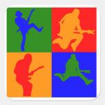Rock Star Pop Art Square Stickers