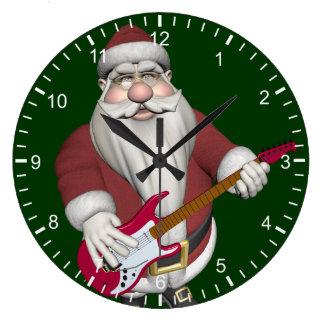 Rock Star Santa With Red Electric Guitar Large Clock