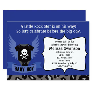Rock Star Skull Baby Shower Card