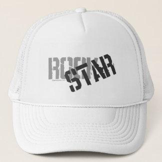 Rock Star White Trucker's Hat, Mesh Hat