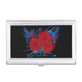 Rock style roses and wings business card holder