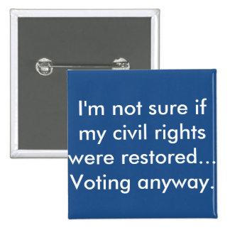 Rock the Civil Right Restoration Vote! 15 Cm Square Badge