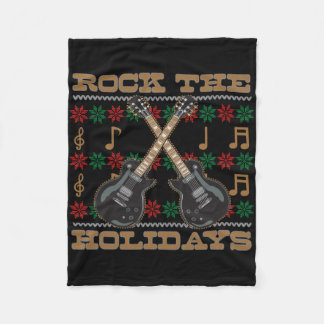 Rock The Holidays Guitar Ugly Christmas Sweater Fleece Blanket