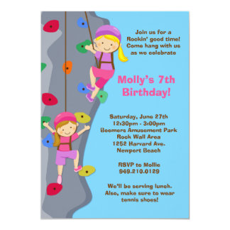 Rock Wall Climbing Birthday Party Invitation