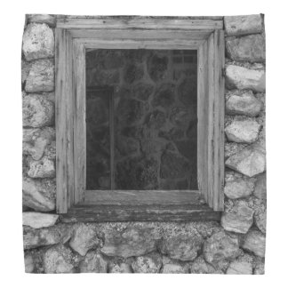 Rock Wall Window Grayscale Bandana