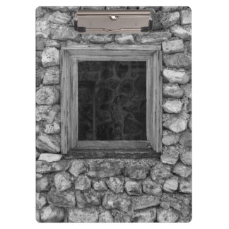 Rock Wall Window Grayscale Clipboard