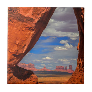 Rock window to Monument Valley, AZ Tile
