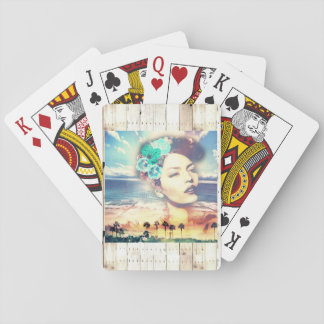 Rockabilly California Palms Coastal Summer Woman Playing Cards