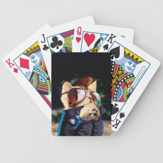 Rockabilly cat - biker cat - rocker cat - cute cat bicycle playing cards