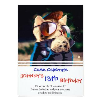Rockabilly cat - biker cat - rocker cat - cute cat card