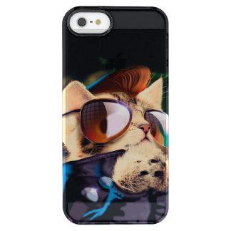 Rockabilly cat - biker cat - rocker cat - cute cat clear iPhone SE/5/5s case
