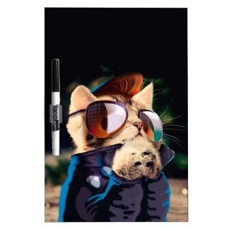 Rockabilly cat - biker cat - rocker cat - cute cat dry erase board