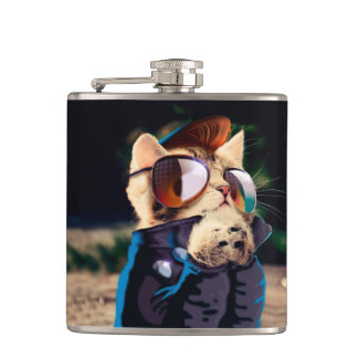 Rockabilly cat - biker cat - rocker cat - cute cat hip flask