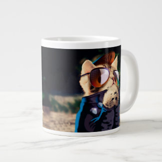 Rockabilly cat - biker cat - rocker cat - cute cat large coffee mug
