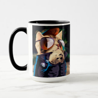 Rockabilly cat - biker cat - rocker cat - cute cat mug