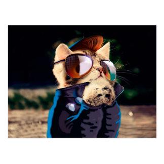 Rockabilly cat - biker cat - rocker cat - cute cat postcard