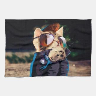 Rockabilly cat - biker cat - rocker cat - cute cat tea towel