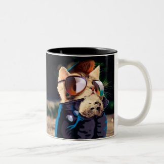 Rockabilly cat - biker cat - rocker cat - cute cat Two-Tone coffee mug