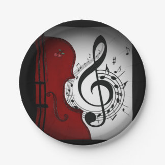 ROCKABILLY CELLO/VIOLIN MUSIC PARTY PLATE 7 INCH PAPER PLATE