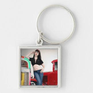Rockabilly Garage Hot Rod Pin Up Car Girl Key Ring
