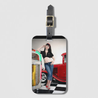 Rockabilly Garage Hot Rod Pin Up Car Girl Luggage Tag