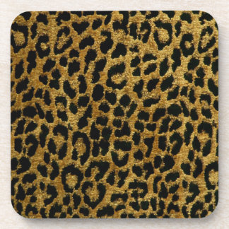 Rockabilly Gold Black Leopard Print Cork Coaster