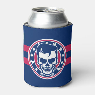 Rockabilly Greaser Skull and Aces Can Cooler