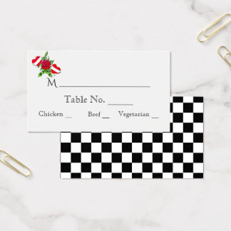 Rockabilly Hearts Rose Wedding Place Cards