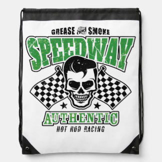 Rockabilly Hot Rod Racer Skull Drawstring Backpacks