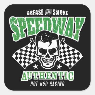 Rockabilly Hot Rod Racer Skull Square Sticker