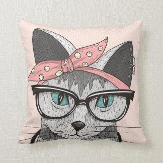 Rockabilly Kitty Cushion