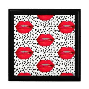 rockabilly leopard red lips keepsake box