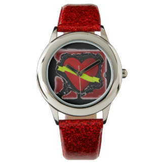 ROCKABILLY RED GLITTER WATCH WITH HEART DESIGN