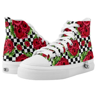Rockabilly Red Roses Bouquet Floral Love High Tops