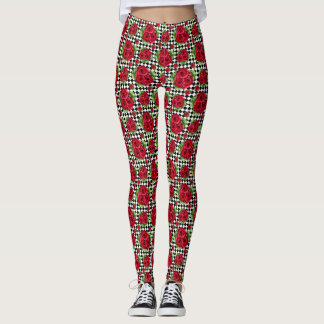 Rockabilly Red Roses Bouquet Floral Love Leggings