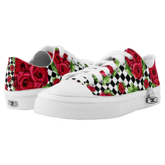 Rockabilly Red Roses Bouquet Floral Love Low Tops