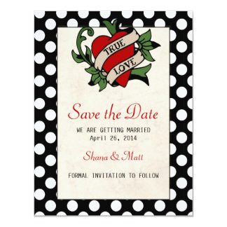Rockabilly Save the Date 11 Cm X 14 Cm Invitation Card