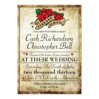 Rockabilly Tattoo Rose Rocker Wedding Invitations
