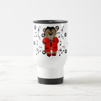 Rockabilly Teddy Boy Cartoon Teddy Bear Travel Mug