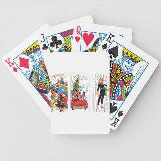 rockabilly vintage Christmas Bicycle Playing Cards