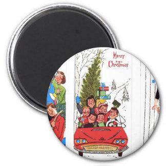 rockabilly vintage Christmas Magnet