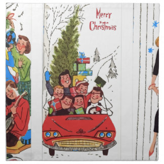 rockabilly vintage Christmas Napkin