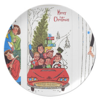 rockabilly vintage Christmas Plate