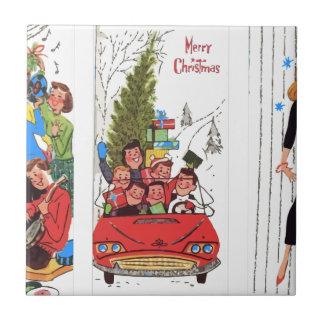 rockabilly vintage Christmas Tile