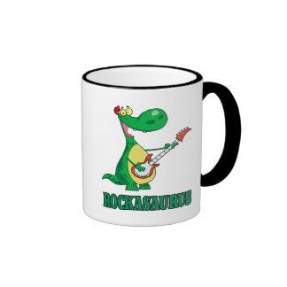 rockasaurus rock n roll dino dinosaur.ai mugs