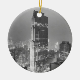 Rockefeller Center and RCA Building New York City Double-Sided Ceramic Round Christmas Ornament