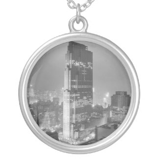 Rockefeller Center and RCA Building New York City Round Pendant Necklace